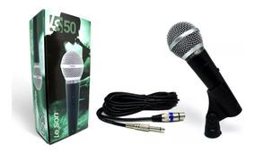 Microfone De Mão Fio 5 Mts Leson Ls50 Dinamico Metal Ls-50