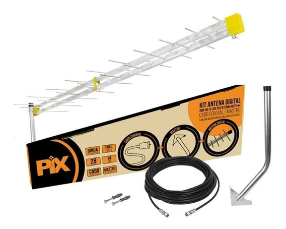 Kit Antena Hdtv 14 Dbi 28 Elementos Com Cabo E Mastro Pix