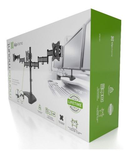 Rack Soporte Brazo 3 Monitores Escritorio 13 A 27 Klip Xtrem
