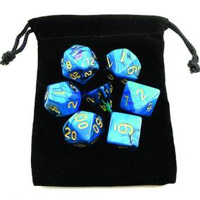 Dados Rpg De Mesa Kit Bag D4 D6 D8 D10 D12 D20 D10% Azul