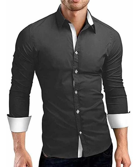 Camisa Hombre Casual Vestir Slim Fit Strech Calidad De Moda