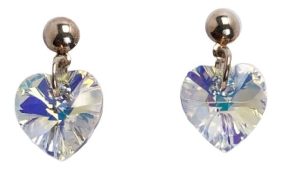 Aros Corazón Cristal De Swarovski 10 Mm Y Plata 925 Original