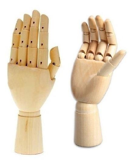 Par De Mãos Articuláveis De Madeira Manequim Desenho 25cm