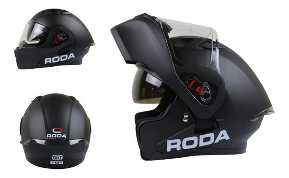 Casco Roda Rush Negro Mate Abatible Gafas Certificacion Dot
