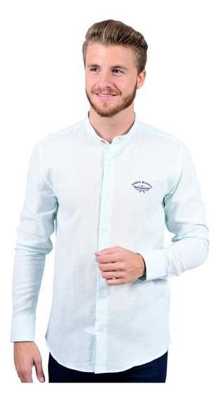 Camisa Porto Blanco Caballero Cuello Mao Lino Verde