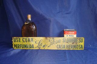 Cartel Antiguo Cera La Rosa De Chapa + Lata + Botella, 1930