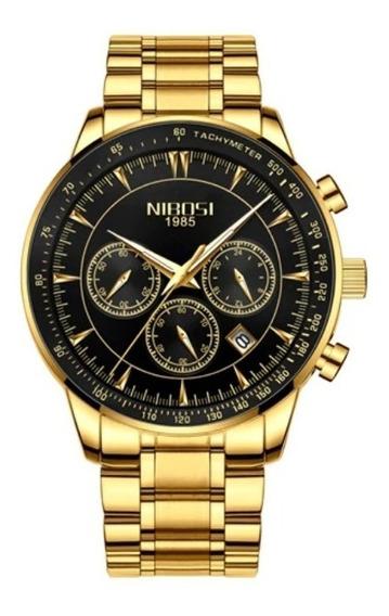 Relógio Masculino Nibosi Original Luxo Cronógrafo Aço Barato