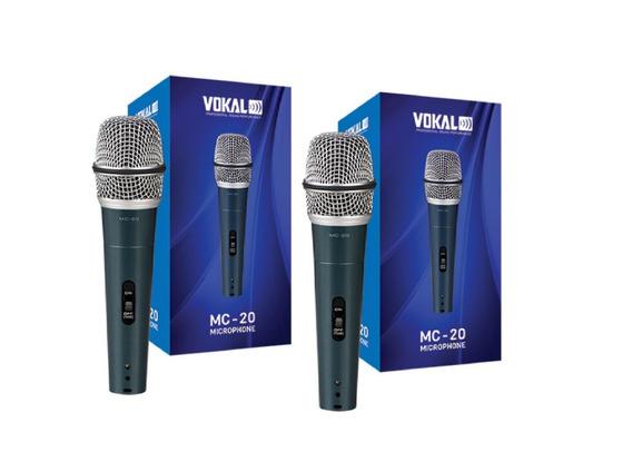 Kit 2 Microfones Com Fio Mc-20 Vokal