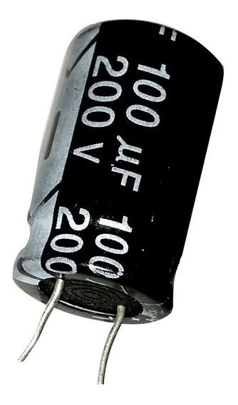 2pç Capacitor Eletrolítico 100uf 200v