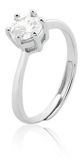 Anel Solitário Feminino Ajustável Cristal Prata 925 Semijoia