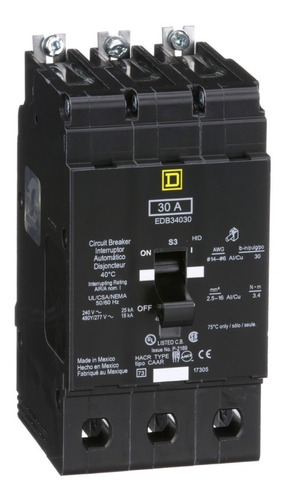Imagen 1 de 1 de Interruptor Termomagnético Edb 3p 30a Schneider Edb34030