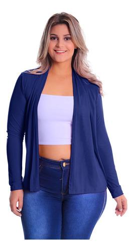 Imagem 1 de 5 de Cardigan Reto Plus Size Blazer Blusa Feminina Casaco Malha