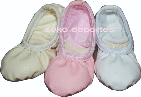 Zapatillas Badanas Elastizadas Cuerina Media Punta Danza