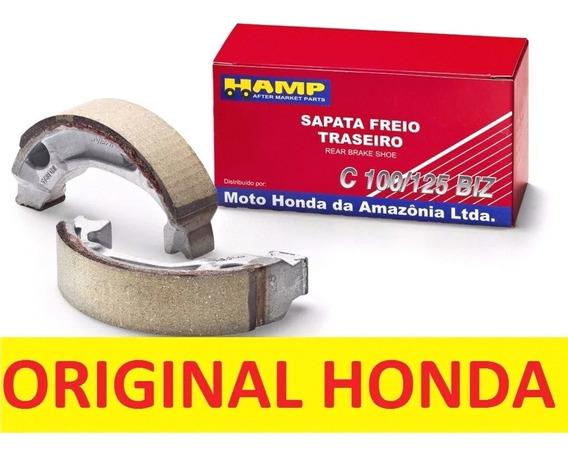 Sapatas Lona De Freio Hamp Original Tráseira Cg 100/125 Biz