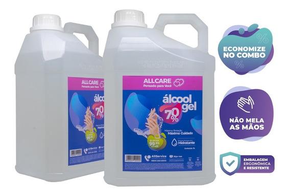 Galões Álcool Em Gel 70% Proteção E Limpeza 5 Litros (2 Und)