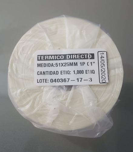 Etiqueta Termica Directa 2x1 , 51x25 Mm 1000 Por Rollo