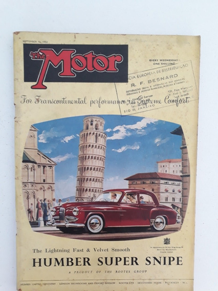 Revista The Motor 16 De Setembro 1953 Humber Super Snipe Rar