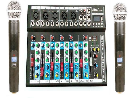 Microfone Sem Fio + Mesa De Som 6 Canais Usb Mixer Mp3 Nf