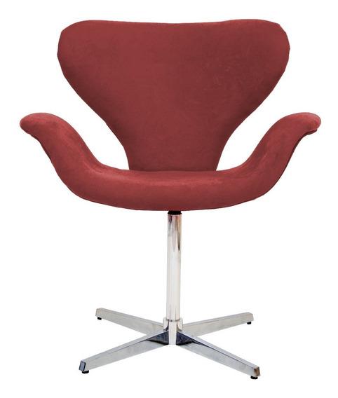 Cadeira Poltrona Decorativa Giratória Base Alumínio + Cores
