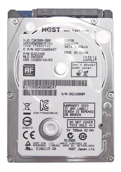 Hd Notebook Hitachi Hgst 500gb Slim Sata 3.0 Gb/s