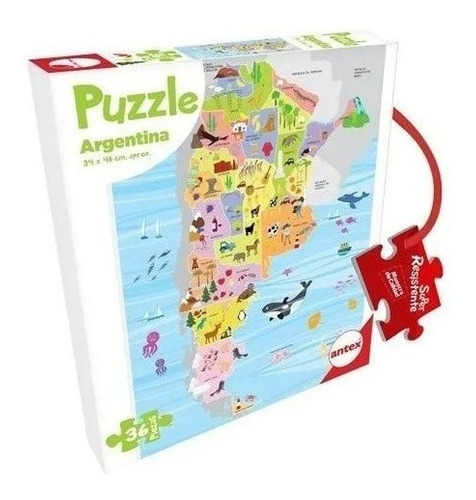 Imagen 1 de 3 de Puzzle Rompecabezas Antex Argentina 36 Piezas