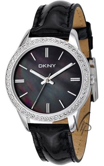 Relógio Feminino Original Donna Karan Dkny Prata Preto Couro