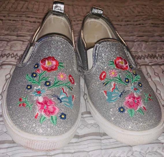 Zapatillas H&m Nenas Plateadas Preciosas!! Talle 31
