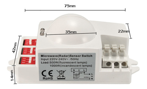 XCSOURCE 220V-240V Detector de Radar de Interruptor de Sensor de inducci/ón de Cuerpo Humano de microondas HF Detector Inteligente retardador HS879