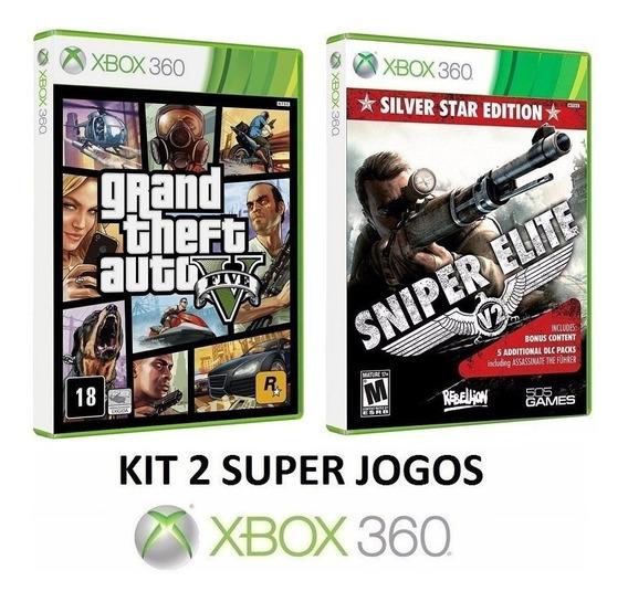 2 Jogos - Sniper Elite V2 Silver Star Edition + Grand Thief Auto 5 / Gta V - Midia Fisica Original E Lacrado - Xbox 360