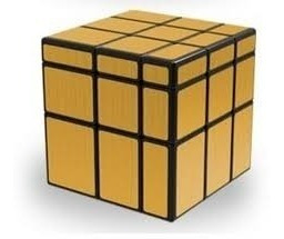Cubo Mágico Rubik Qiyi Mirror 3x3x3 Dorado Base Negra