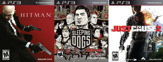 Hitman Absolution + Sleeping Dogs + Just Cause 2 Ps3