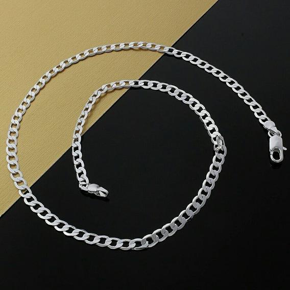 Colar Prata Masculino Banhado 925| 60cm 4mm Frete Fixo