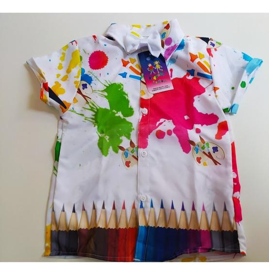 Camisa Aquarela Arco Íris Pintando O Sete