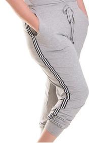 Roupa Feminina Plus Size Calça Jogger Com Listras Laterais