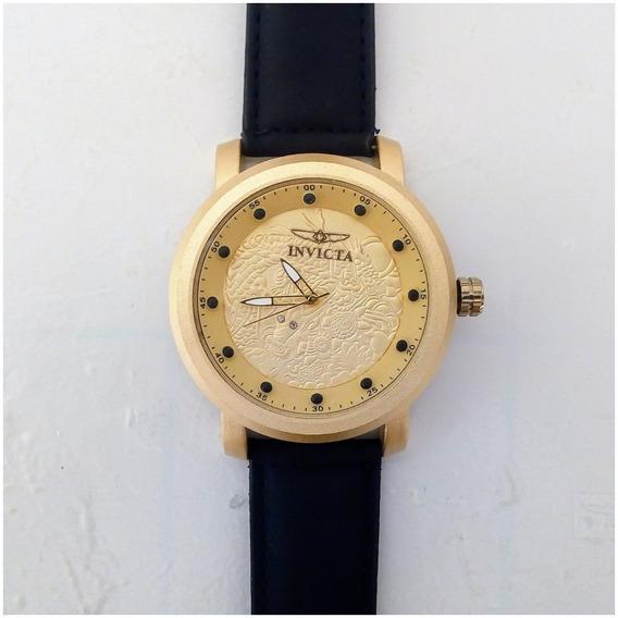 Relógio Masculino Dourado Barato Pulseira Couro + Caixinha 12x Sem Juros