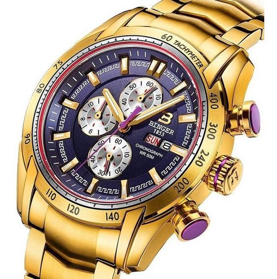 Reloj Rey Midas Oro 10 Kilates Cronógrafo 47mm | Sumergible 50mts Waterproof