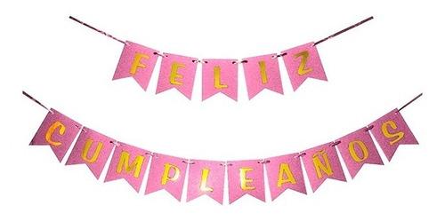 Banderin Feliz Cumpleaños Rosa C/ Letras Doradas Deco Cumple
