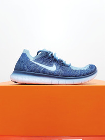 Tênis Free Rn Flyknit 2017 Feminino Original Azul Nike N. 34