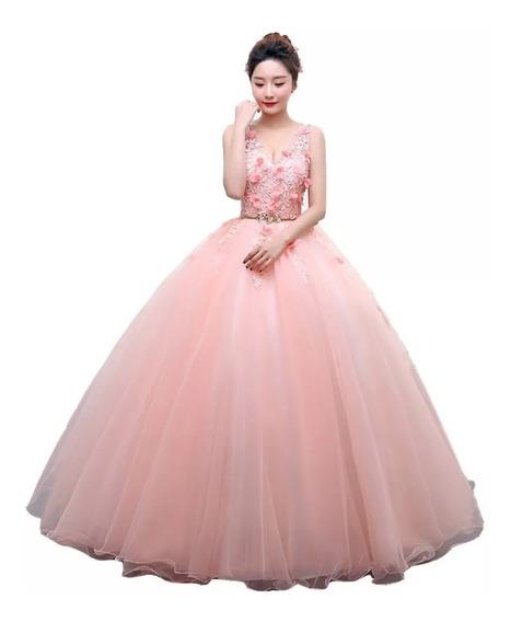 Vestido De Xv Años 15 Dulces 16 Color Melón Flores Encaje Qu
