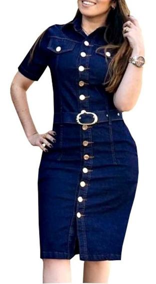 Vestido Moda Evangélica Jeans Elastano Botões Smart Paola