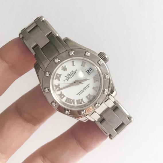 Rolex Lady-datejust Pearlmaster Ouro Banco E Diamantes
