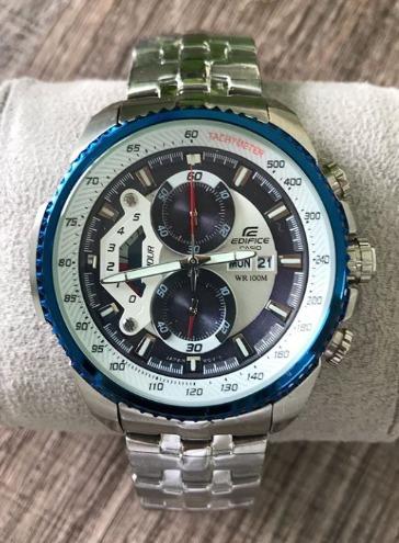Relógio Casio Edifice Ef 558d Mostrador Branco Com Azul