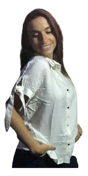 Camisa Manga Corta Con Lazo En Mangas