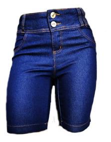 Kit 3 Bermudas Jeans Feminina Pedal Cós Alto Plus Size