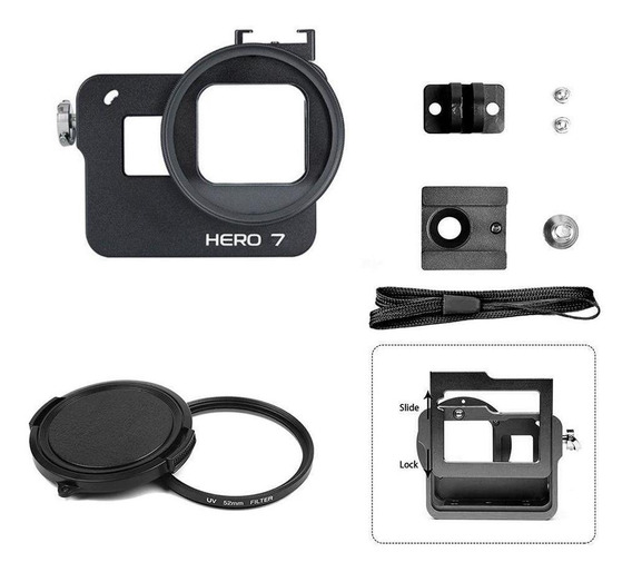 Frame Case Proteção Alumínio+lente Uv 52mm Gopro Hero 7black