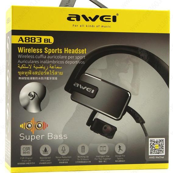 Fone De Ouvido Bluetooth Esportivo Awei A883bl Ipx4 8 Horas De Bateria