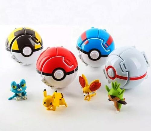 Bolas De Pokemon Pokeball (set 4 Bolas + 4figuras)