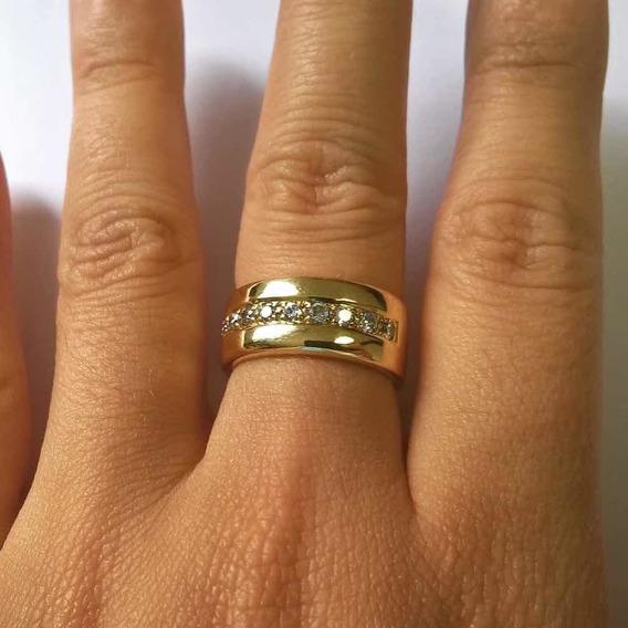 Anel De Ouro 19k C/ Diamantes Leo Witter