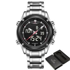 Relógio Analógico Digital Naviforce Pulseira Aço Nf9050b