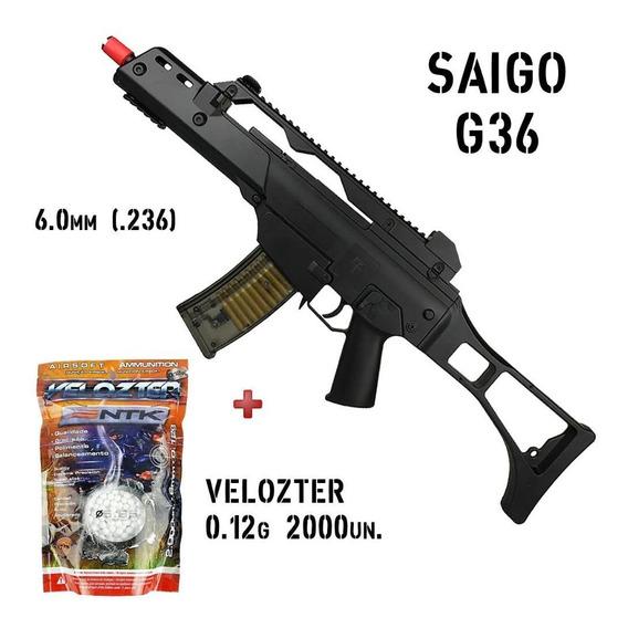 Airsoft Rifle Metralhadora G36 Fuzil Spring + Velozter 0.12g